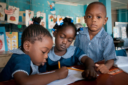 Schoolkinderen in Jamaica